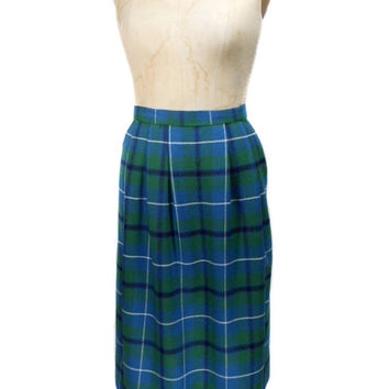 1960s Blue & Green Plaid Skirt / Mad Men / Wool / Fall Winter Holiday / School Girl Uniform / Womens Vintage Skirt / Size Large