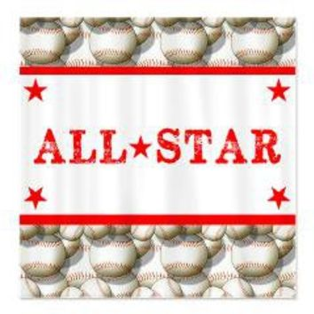 Baseball All-Star Shower Curtain> Shower Curtains> We Tees You