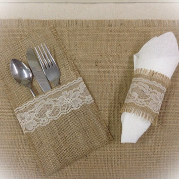 Burlap Silverware caddy holder with Lace - Set of 4, 6, 8, or 12