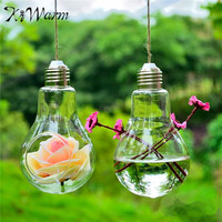 modern design Clear hanging Glass Plants Flower Vase Hydroponic Container Party Decor Bulb Shape