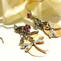 Hammered Copper Dragonfly Dangle Earrings, Dragonfly Lover Gift, Mixed Metal Jewelry