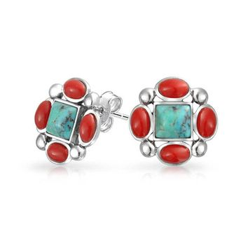 Sterling Silver Compressed Turquoise Simulated Coral Stud Earrings
