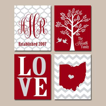 STATE Family Wall Art, College Dorm Decor, School Graduation University LOVE Ohio Bird Tree, Red Wedding Gift, Set of 4, Canvas or Print