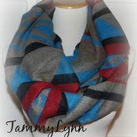 NEW! Tribal, Ethnic Blanket Woven, Unisex, Chunky Knit infinity Scarf Ready to Ship!! Women's Accessories