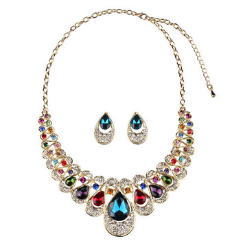 Indian Turkish African Beads Jewelry Sets Brand Sapphire and Ruby Collar Necklaces and Stud Earrings Statement for Wedding N620