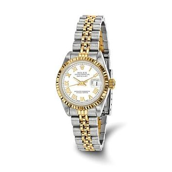 Rolex White Roman Numeral dial Luxury Lady datejust Watch