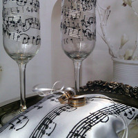 Hand painted Satin White/ black ring bearer pillow Music theme Wedding March personalized wedding favor