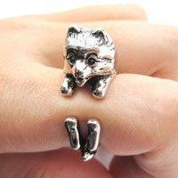 Realistic Pomeranian Pom Puppy Dog Shaped Animal Wrap Around Ring in Shiny Silver | US Sizes 4 to 8.5