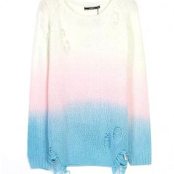 Ripped Gradient Color Knitwear