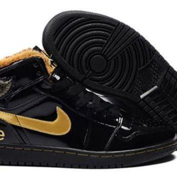 Cheap Air Jordan 1 Original Fur Black Gold Shoes Online