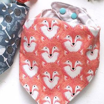 Orange Fox Reversible Baby Bib