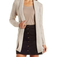 Natural Belted Mixed Stitch Cardigan Sweater by Charlotte Russe