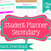 INSTANT DOWNLOAD Student Planner for Girls- Student Organization- 13 PDF Printable Sheets- School Printables