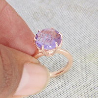 Amethyst Ring - Rose Gold Vermeil Ring - Fashion Ring - Prong Set Ring - Faceted Stone Ring - Engagement Ring - Solid Brass Ring
