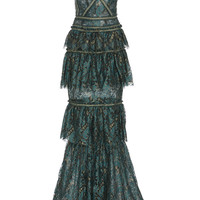 Metallic Tiered Lace Gown | Moda Operandi