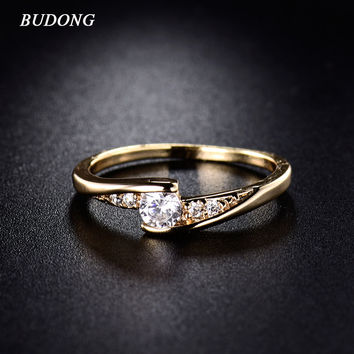 2016 Fashion CZ Zirconia Finger Rings for Women Wedding Jewelry Gold Plated Ring Engagement Mid Rings Eternity Bijoux R008