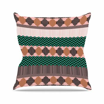 """Akwaflorell """"Knitted 2"""" Green Coral Pattern Outdoor Throw Pillow"""