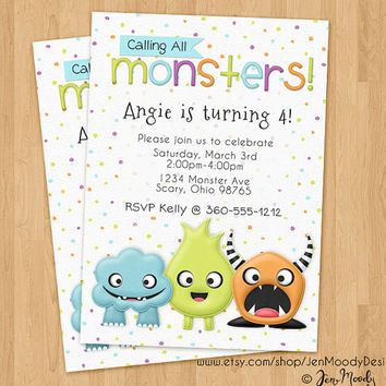 Monsters Birthday Invite, Cute Party Invitation - Printable, Digital, Custom, Scary, Horns, Silly, Picture