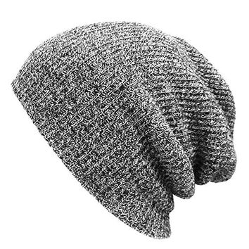 Winter Two Tone Warm Soft Cable Knit Long Slouchy Daily Beanie Cap Skull Hat, Light Grey