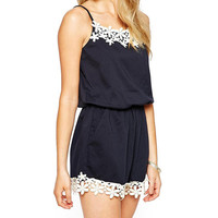 Spaghetti Strap Sleeveless Lace Blouson Rompers
