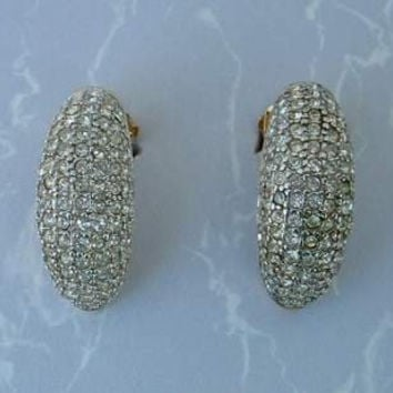 LAROCHE Guy Pave Rhinestone Bling Clip Earrings Vintage Jewelry