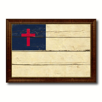 Kayso Christian Religious Military Flag Vintage Canvas Print with Brown Picture Frame Gifts Ideas Home Decor Wall Art Decoration