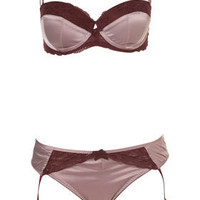 Satin and Lace Balcony Bra and Mini with Suspenders - Lingerie & Sleepwear  - Apparel  - Topshop USA