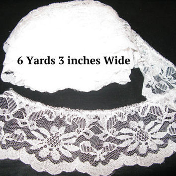 White Ruffle Trim, Wide Lace Gathered Trim by the Yard  6 Yards