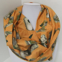 Infinity Scarf - Loop Scarf - Circle Scarf -made by me with Frog and Toad fabric - Teacher Appreciation
