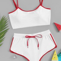 Contrast Trim Top With Lace Up High Leg Bikini Set