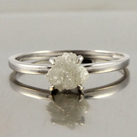 14K White Gold Raw Diamond Ring - Rough Uncut Diamond, Conflict Free - Engagement Ring - True White Diamond - Solitaire Promise Ring