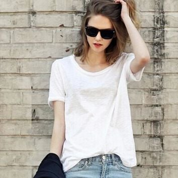 Summer Womens Loose Casual Short Sleeve T-shirt +Necklace