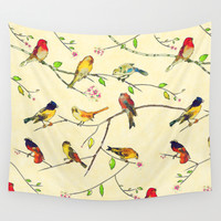 Birds on a sakura tree Wall Tapestry by Rudziox | Society6
