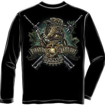 New MARINES FIRST IN LAST OUT   LICENSED LONG SLEEVE T Shirt  USMC