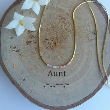AUNT Morse Code Necklace, Secret Message, Dainty necklace, Minimalist, Personalized, Morse code jewelry, gold necklace, aunt gilft, auntie