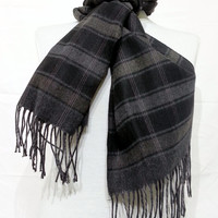 Black and Gray Scarf, Black and Gray Men's Scarf, Black and Gray Wool and Chasmere Men's Scarf - KR1411073