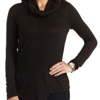 Asymmetrical Turtleneck Top by Charlotte Russe - Black