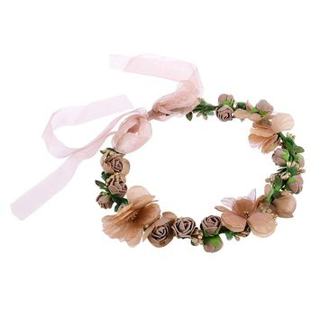 WINOMO Fashion Flower Garland Handmade Fabric Rose Beaded Wedding Party Ribbon Headband for Bridesmaid