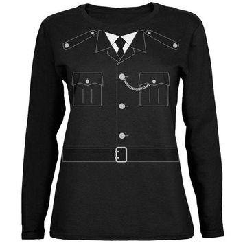 PEAPGQ9 Halloween British Bobby Copper Police Costume Ladies' Relaxed Jersey Long-Sleeve Tee