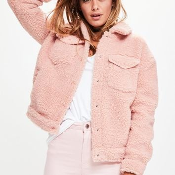 Missguided - Pink Faux Shearling Trucker Jacket