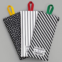 Coated long cotton zipper pouch pencil case