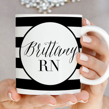 Personalized Nurse Mug RN Name Mug - Black & White Striped Mug - N0003
