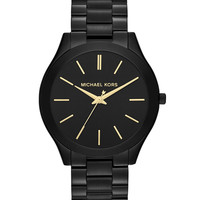 Mid-Size Black Stainless Steel Runway Three-Hand Watch - Michael Kors