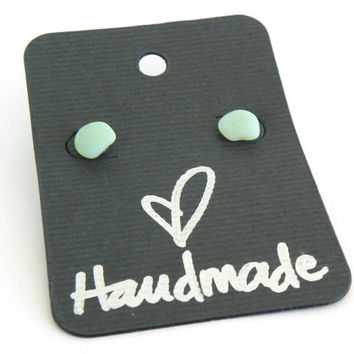 Sea Glass Earrings - Eco-Friendly Recycled Pale Green Milk Glass