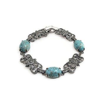 Danecraft Bracelet, Sterling Silver, Turquoise Glass, Marcasite, Sterling Bracelet, Vintage Bracelet, Vintage Jewelry
