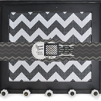 Jewelry Display Holder - Decorative Vintage Style Wooden Framed Wire Wall Board with 5 Knobs Black