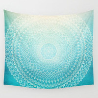 Complex Mandala Wall Tapestry,  geometric mandala,  teal, coral, peach, boho chic,  dorm room decor