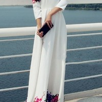 White Mosaic Flowers Print Zipper Round Collar 3/4 Sleeve Ted Baker Elegant Maxi Dress