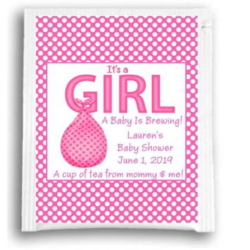 10 Its A Girl Baby Shower Tea Favors