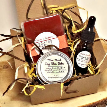 Mens Grooming Gift Set, Grooming Box, Soap, Beard Oil & Dry Hand Skin Treatment, Healing Salve, Man Gift, Gift for Dad, Bachelor Gift